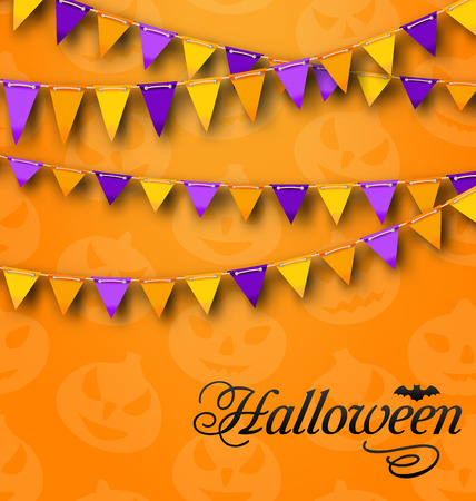 31th: Illustration Decoration with Colorful Bunting Pennants for Halloween Party. Celebration Background