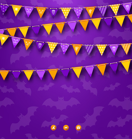 Illustration Halloween Party Background with Bunting