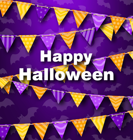 31th: Illustration Colorful Hanging for Triangular String Halloween Party Illustration
