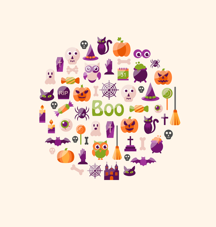 31th: Illustration Halloween Colorful Flat Icons. Party Background