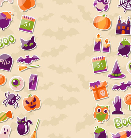 monsters house: Illustration Cute Background for Halloween Party with Colorful Flat Icons - Vector
