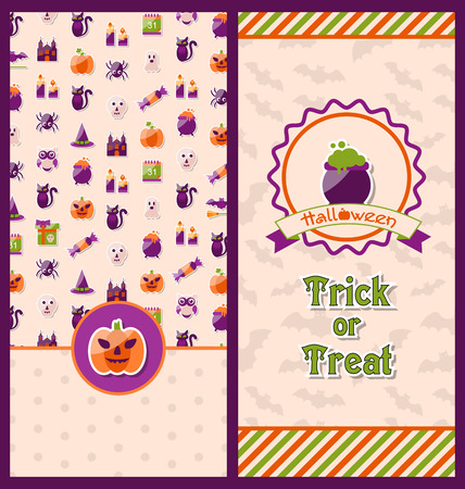 besom: Illustration Halloween Postcards. Vertical Banners. Party Invitations with Flat Icons. Trick or Treat Illustration