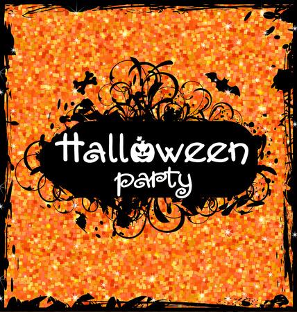 october 31: Illustration Grunge Dirty Frame for Halloween Party. Glitter Orange Background Illustration