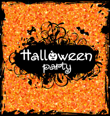 Illustration Grunge Dirty Frame for Halloween Party. Glitter Orange Background Illustration