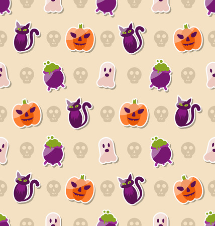 31th: Illustration Halloween Seamless Texture with Colorful Flat Icons. Abstract Background
