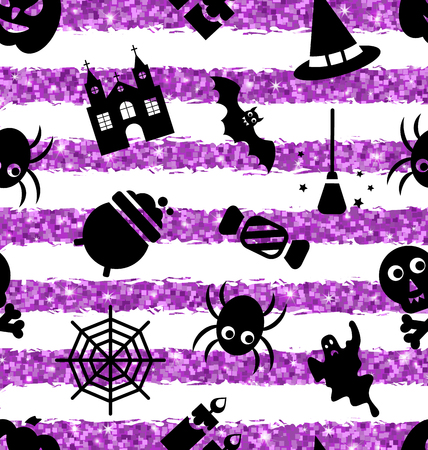 besom: Illustration Seamless Pattern with Traditional Objects. Glitter Violet Wallpaper for Halloween Party