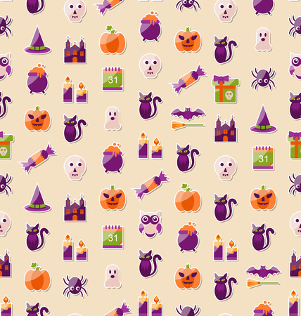 31th: Illustration Halloween Seamless Texture with Colorful Flat Icons. Abstract Template for Wrapping