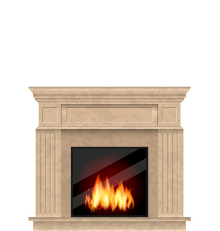 Illustration Marbre réaliste Cheminée avec le feu isolé sur fond blanc