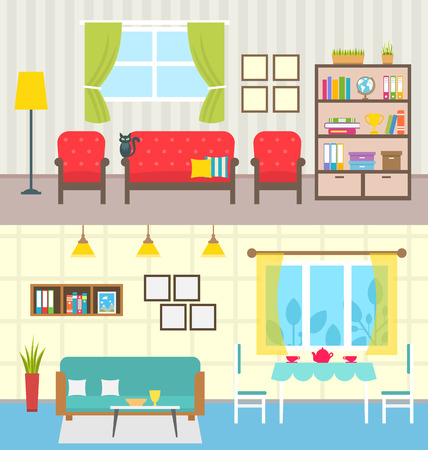 Illustration Set Home Interiors. Design of Living Rooms.
