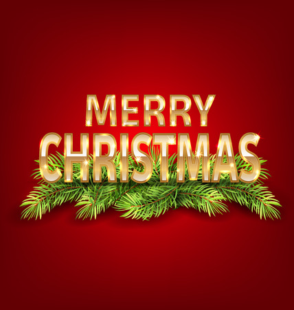Illustration Merry Christmas Background with Golden Text and Fir Branch