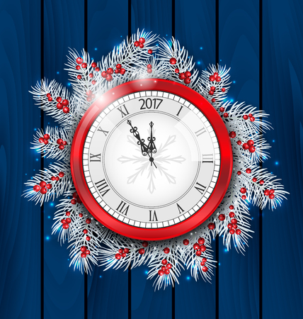 watch new year: Illustration Christmas Fir Twigs with Clock for 2017 New Year