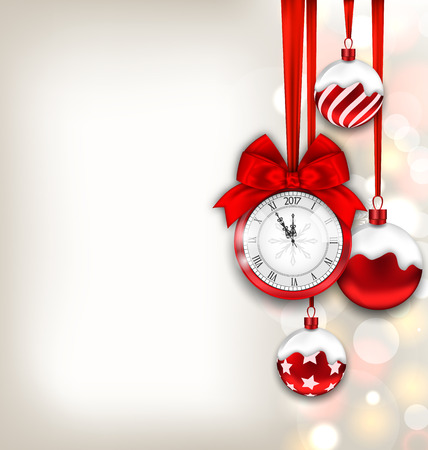 watch new year: Illustration New Year Shimmering Background with Clock and Glass Balls -