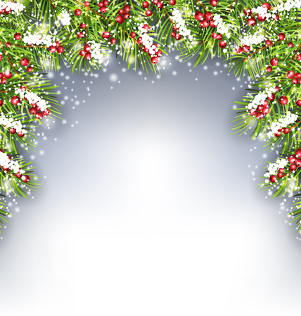 conifer: Illustration Holiday Decoration with Fir Branches and Holly Berries, Copy Space for Your Text -