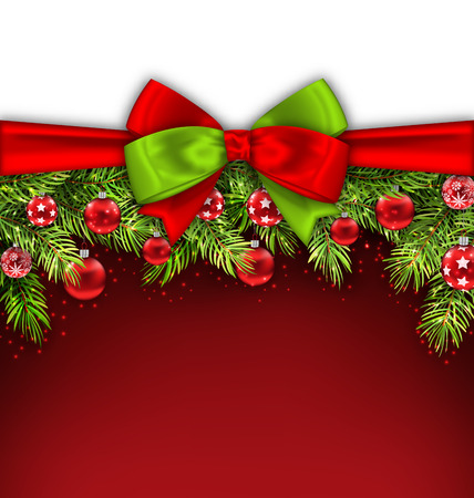conifer: Illustration Christmas Banner with Bow Ribbon, Fir Twigs, Glass Balls, Copy Space for Your Text - Stock Photo