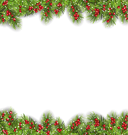 felicitation: Illustration Holiday Frame with Fir Branches and Holly Berries, Copy Space for Your Text - Vector Illustration