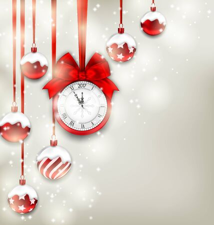 christmastime: Illustration New Year Magic Background with Clock and Glass Balls, Glowing Holiday Adornment - raster