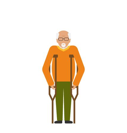 older: Illustration Older Man with Crutches. Disability, Elderly, Grandfather. Colorful Icon Isolated on White Background - raster