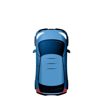 view from above: Illustration Car view from above, Vehicle Isolated on White Background - raster Stock Photo