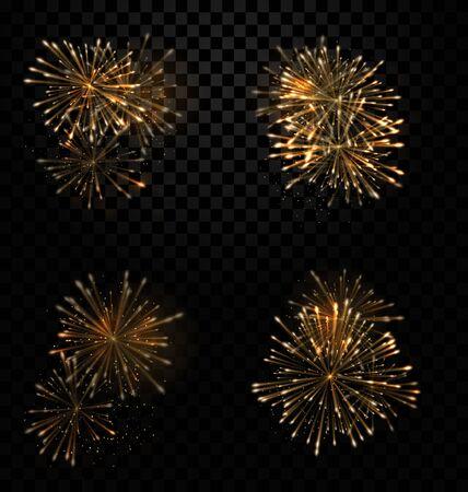 Illustration Festive Set Fireworks Salute on Transparent Background - raster