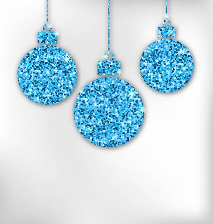weihnachten: Illustration Christmas Balls with Sparkle Surface for Celebration Card - raster