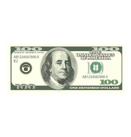 banknote: Illustration Detailed Dollar Banknote Isolated on White Background, Hundred Denomination - Vector