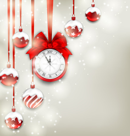 Illustration New Year Magic Background with Clock and Glass Balls, Glowing Holiday Adornment - Vector Illustration