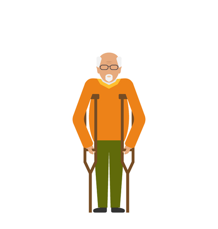 older: Illustration Older Man with Crutches. Disability, Elderly, Grandfather. Colorful Icon Isolated on White Background - Vector