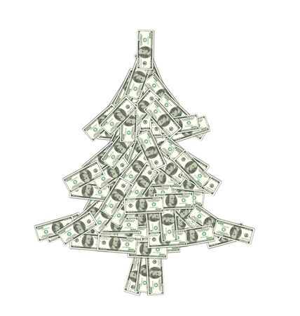 Illustration Christmas Concept - Pine Made of Banknotes of Dollars, Spruce Isolated on White Background - Vector