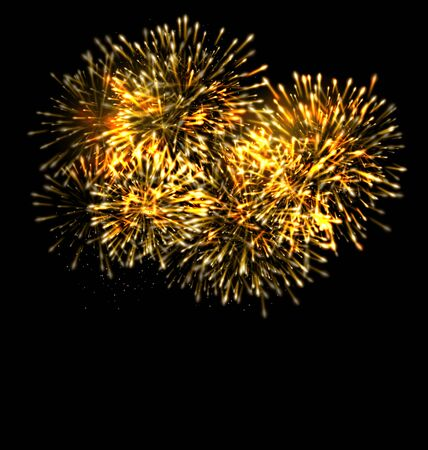 Illustration Illuminated Festive Firework, Glowing Holiday Background - Vector Illustration
