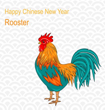 cock hand: Illustration Postcard with Rooster as Symbol Chinese New Year 2017, Colorful Cartoon Cock, Hand Drawn Style - Vector