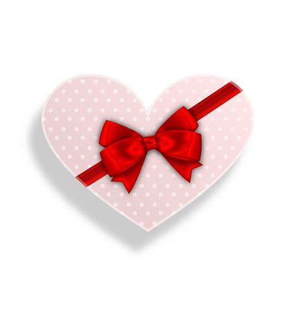 postcard box: Illustration Romantic Gift Box with Bow Ribbon for Valentines Day - Vector