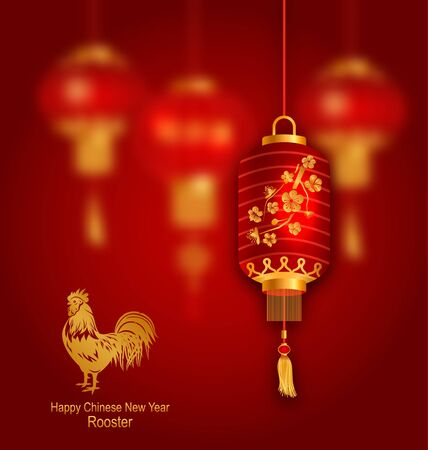 chinese symbol: Illustration Blurred Background with Red Lanterns and Rooster as Symbol Chinese New Year 2017 -