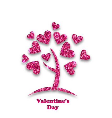 february 14th: Illustration Concept of Tree with Shimmering Heart Leaves for Valentines Day. Glitter Postcard - Stock Photo