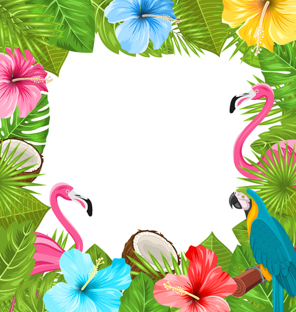 Tropical Frame Made in Beautiful Plants Ilustração