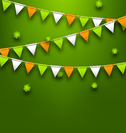 Bunting Pennants in Irish Colors and Clovers for St. Patrick s Day Illustration