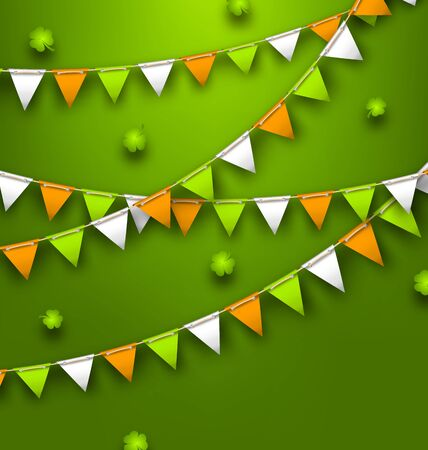 Festive Flags with Clovers for Happy Saint Patricks Day