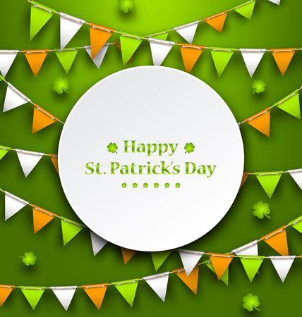Congratulation Card with Bunting Hanging Pennants in Irish Colors