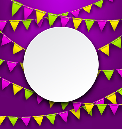 Mardi Gras Traditional Card, Bunting Background