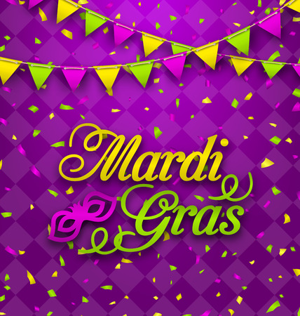 Mardi Gras Lettering Background, Invitation for Fat Tuesday Stock Photo