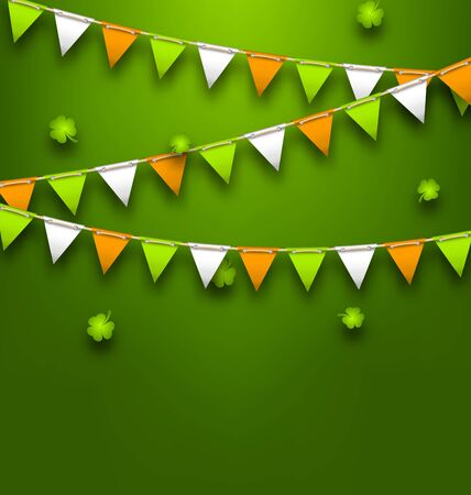 Bunting Pennants in Irish Colors and Clovers for St. Patricks Day