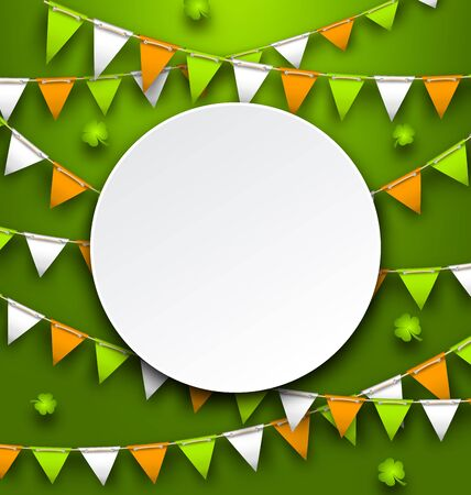 17th march: Clean Card with Party Bunting Pennants and Clovers for St. Patricks Day