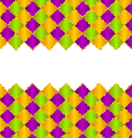 Abstract Pattern for Mardi Gras wirh Green, Purple, Yellow Colors Stock Photo