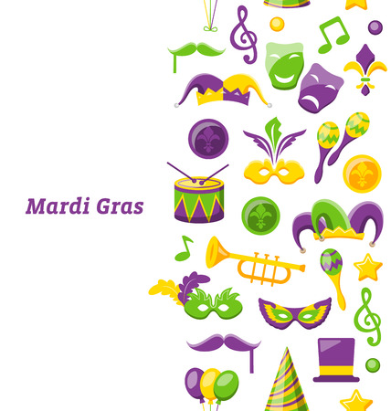 Greeting Invitation for Mardi Gras and Carnival , Seamless Texture, Fat Tuesday