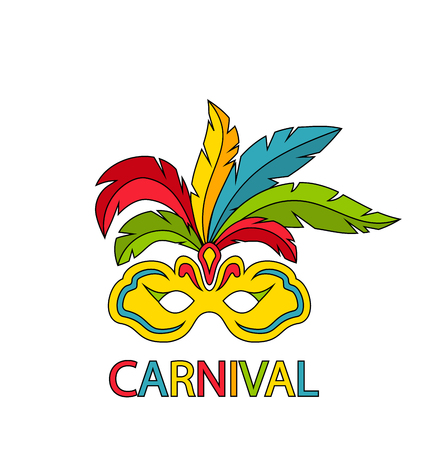 parade: Carnival Mask with Colorful Feathers Isolated
