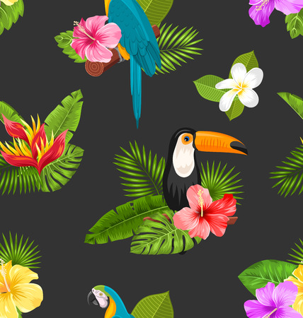 macaw: Seamless Pattern with Exotic Flowers and Birds. Jungle Texture