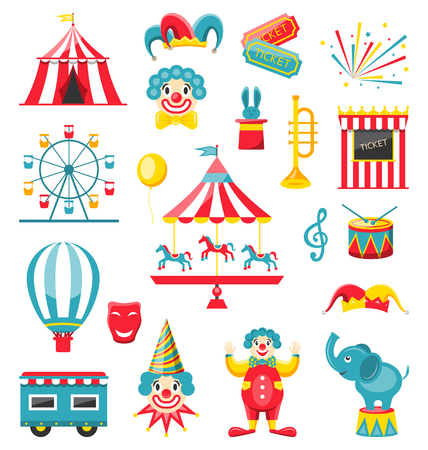 Circus and Carnival Icons Isolated on White Background Stock Photo