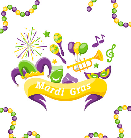 Celebration Banner with Set Carnival Icons and Objects for Mardi Gras, Fat Tuesday