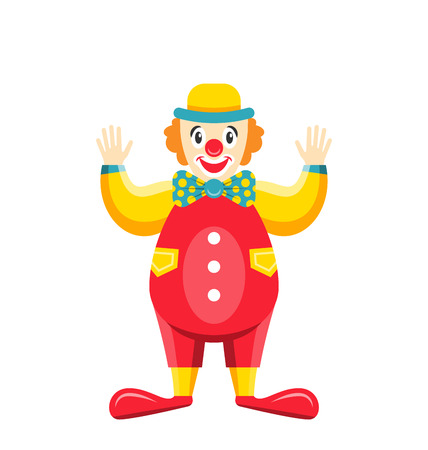 Cartoon Clown Isolated on White Background, Party Funny Man