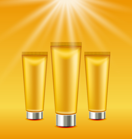 suncare: Set Sunscreen Bottles and Tubes of Lotions