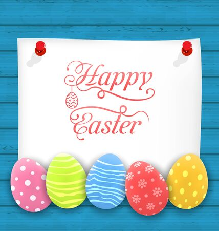ostern: Greeting Paper Card with Easter Ornamental Eggs